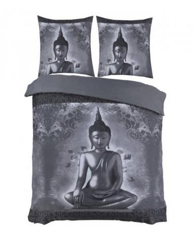 Buddha grijs dekbedovertrek